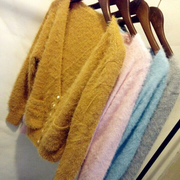 开衫毛衣外套韩国短款上衣 2014秋冬女装新款毛衣兔毛小外套纯色