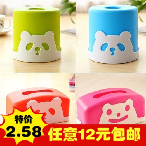 时尚可爱家用熊猫塑料圆形纸巾盒 创意桌面抽纸盒纸巾抽纸巾筒