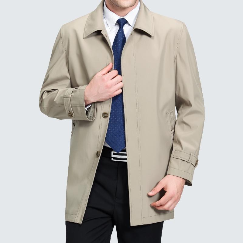 中老年男装外套春装薄款风衣中年人商务休闲中长款翻领风衣爸爸装