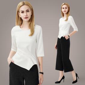 雪纺衫女七分袖2017春装新款女装修身显瘦不规则中袖收腰上衣女潮