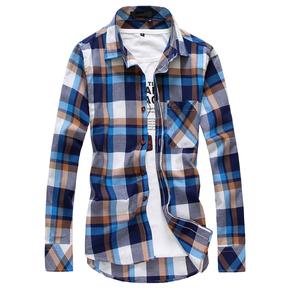 春夏季青少年潮男士学生修身型薄款长袖格子衬衫休闲衬衣外套夏天