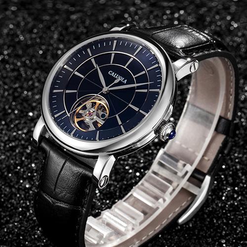 正品卡罗莱时尚机械表男士手表真皮防水简约CA1128M