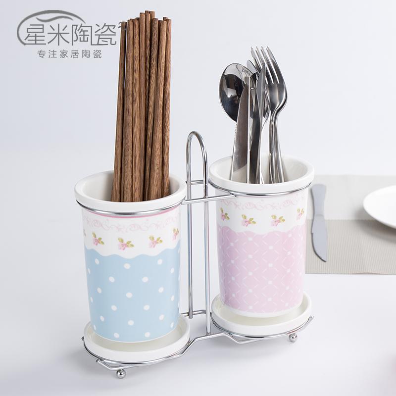 筷子筒沥水筷子盒陶瓷韩式创意筷子架双筒防霉筷子笼骨瓷厨房餐具