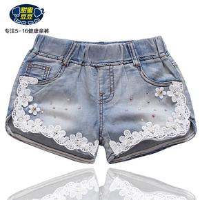 女童短裤2015夏季新款童裤女大童童装纯棉热裤儿童韩版牛仔短裤