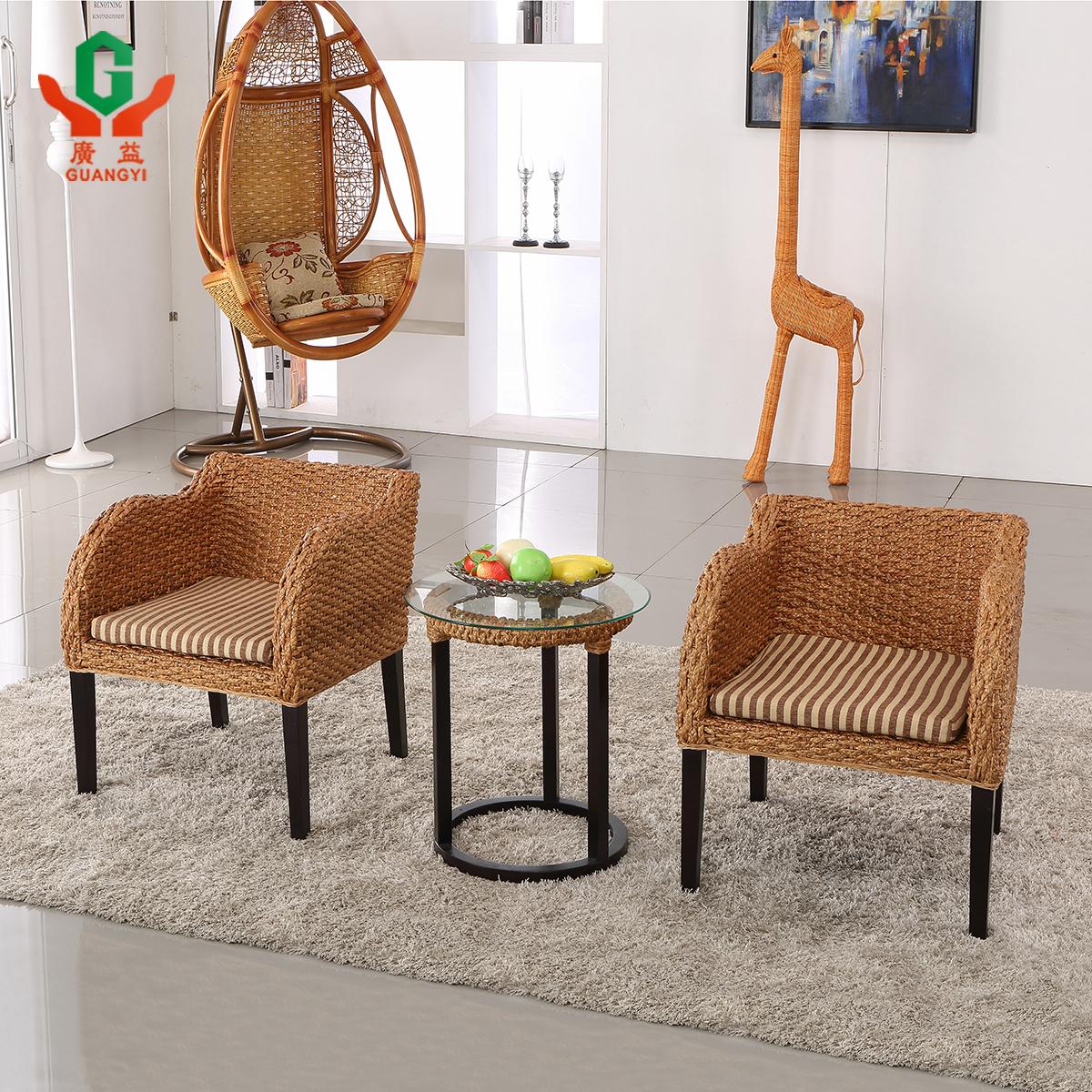 尤立进口印尼藤藤椅 休闲扶手椅组合 藤椅三件套 时尚咖啡椅 户外