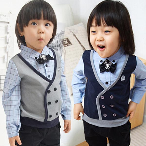 2015春秋新款童装男童春装长袖学院风假两件衬衫儿童服饰2-6岁KK