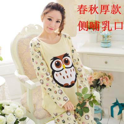 孕妇哺乳服月子服纯棉秋冬产后外出透气舒适喂奶衣大码睡衣套装