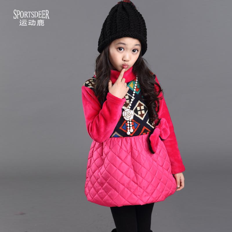 童装冬季2014新款中大童韩版加厚儿童长款T恤高领女童加绒打底衫