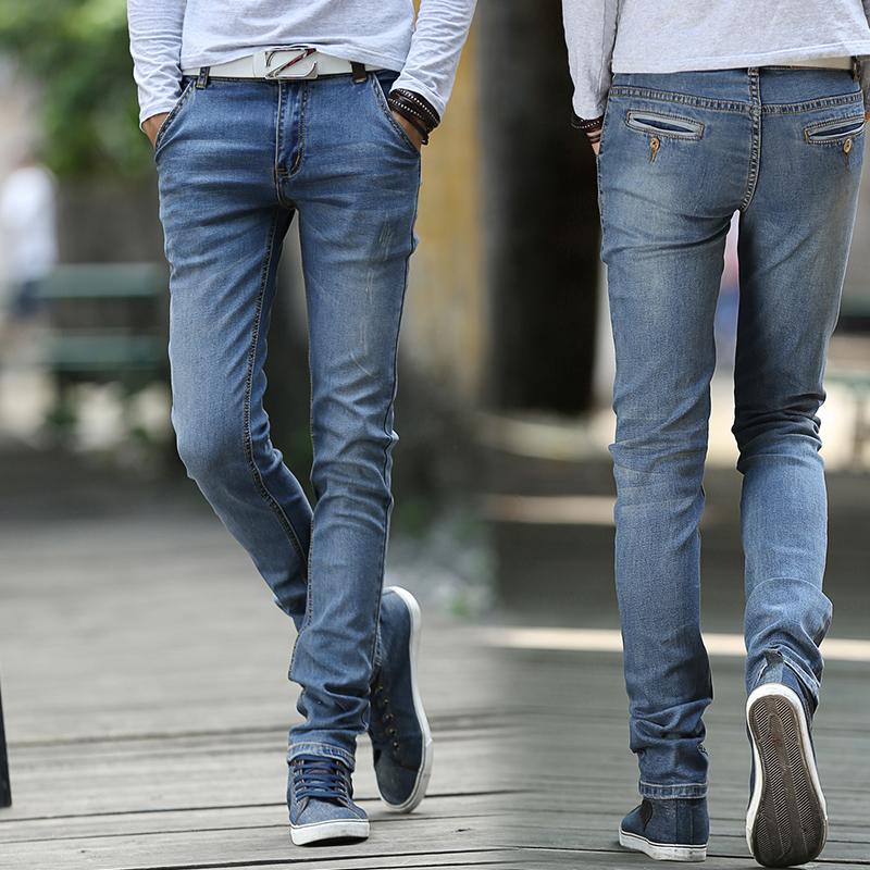 2014秋季新款牛仔裤青春流行修身型拉链铅笔裤水洗中腰棉休闲长裤
