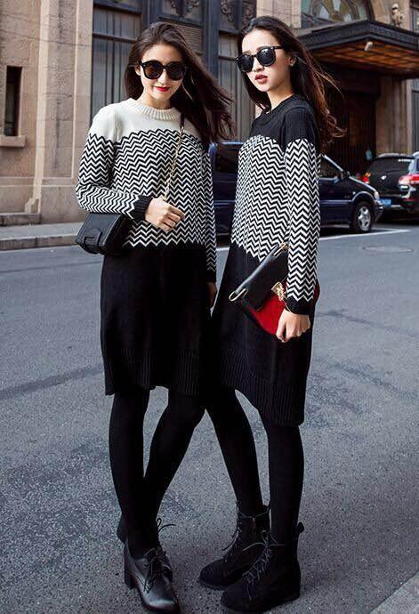 50%的羊毛 上身绝对好看 女款羊毛衫长袖长款毛衣连衣裙 女大码胖