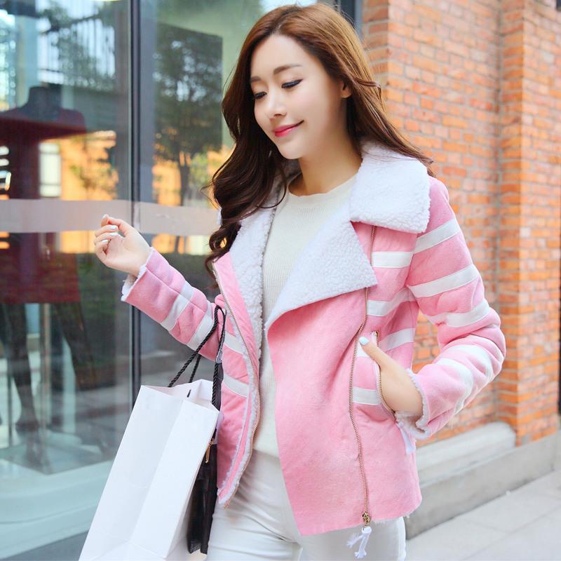 2014秋冬新款韩版西装獭兔毛呢大衣外套棉衣棉袄