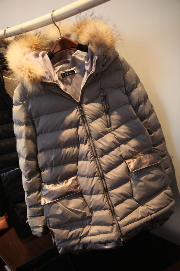 韩国东大门冬季代购款貉子毛领连帽羽绒棉衣中长款显瘦加厚女棉服