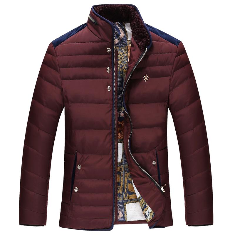 冬季男装羽绒服中年爸爸装羽绒外套商务休闲立领保暖棉服