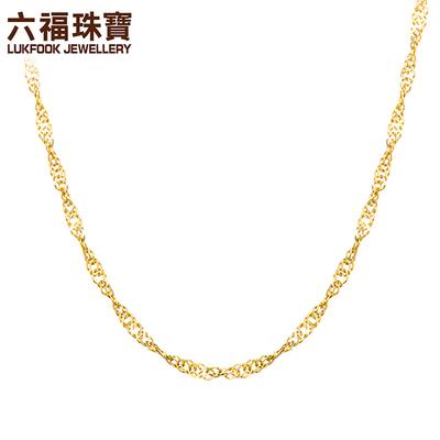 六福珠宝18K金项链女简约彩金项链水波纹细素链送礼L18TBKN0022Y