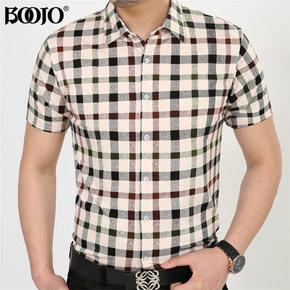 2015夏季中年男士短袖衬衫免烫商务男装宽松格子衬衣爸爸装BOOJO