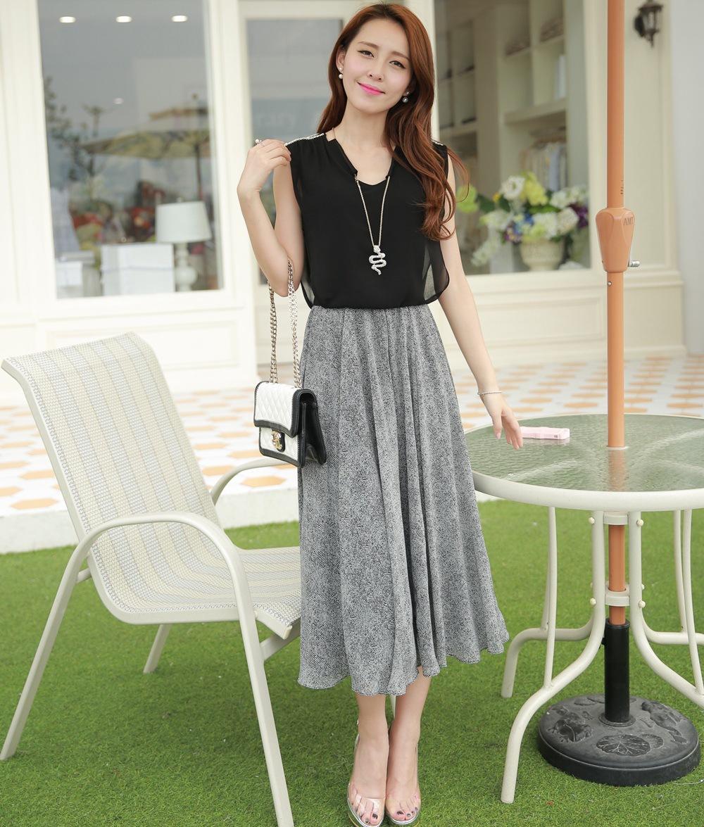 2014夏装新款女气质无袖雪纺拼接莫代尔长裙黑灰色欧美连衣裙