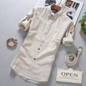 夏季男士衬衫短袖韩版修身男装潮流七分袖寸衫棉麻白色休闲衬衣服