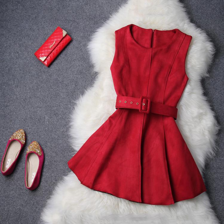 2014欧美大牌秋冬新品高端时尚气质女装纯色圆领厚款连衣裙