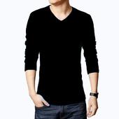 韩版男士秋冬季修身V领长袖毛衣打底针织线衫男装加绒厚外套上衣