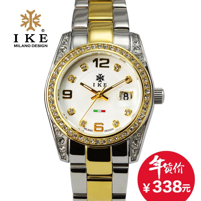 IKE时尚品牌手表 女表商务经典休闲不锈钢表带日历防水超薄石英表