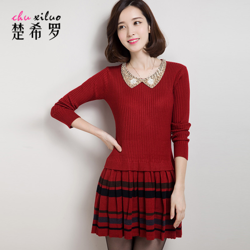 秋冬新款韩版娃娃领修身显瘦中长款打底毛衣裙 长袖针织连衣裙