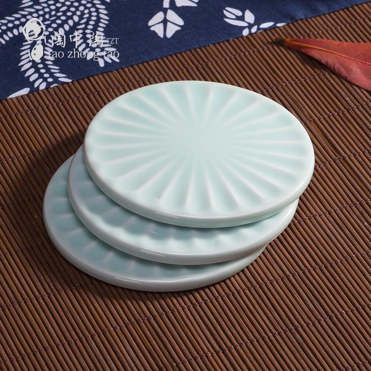 创意陶瓷杯垫 影青瓷茶具配件  隔热防挂花圆形陶瓷垫 加厚清新垫