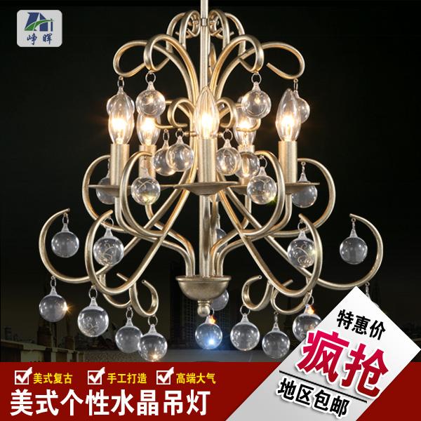 美式乡村水晶吊灯复古铁艺北欧田园餐厅卧室书房法式创意艺术吊灯