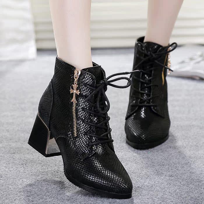 2014春秋款真皮女靴短靴方根尖头拉链高跟英伦潮漆皮马丁靴女皮靴