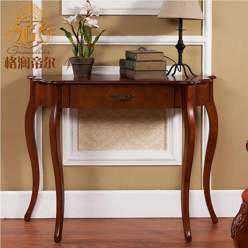 美式实木玄关桌 欧式玄关桌 白色玄关台玄关柜 沙发背几 走廊柜