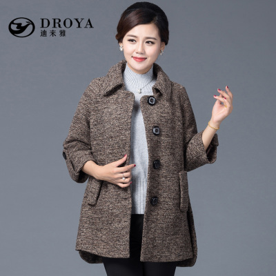 迪来雅2015新款妈妈装毛呢外套中老年女装大码上衣妈妈装冬装外套