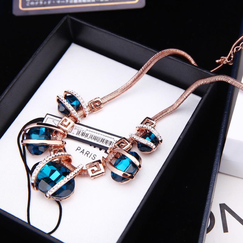 韩版高档大气正品玫瑰金水晶夸张短链时尚锁骨链项链女饰品不褪色