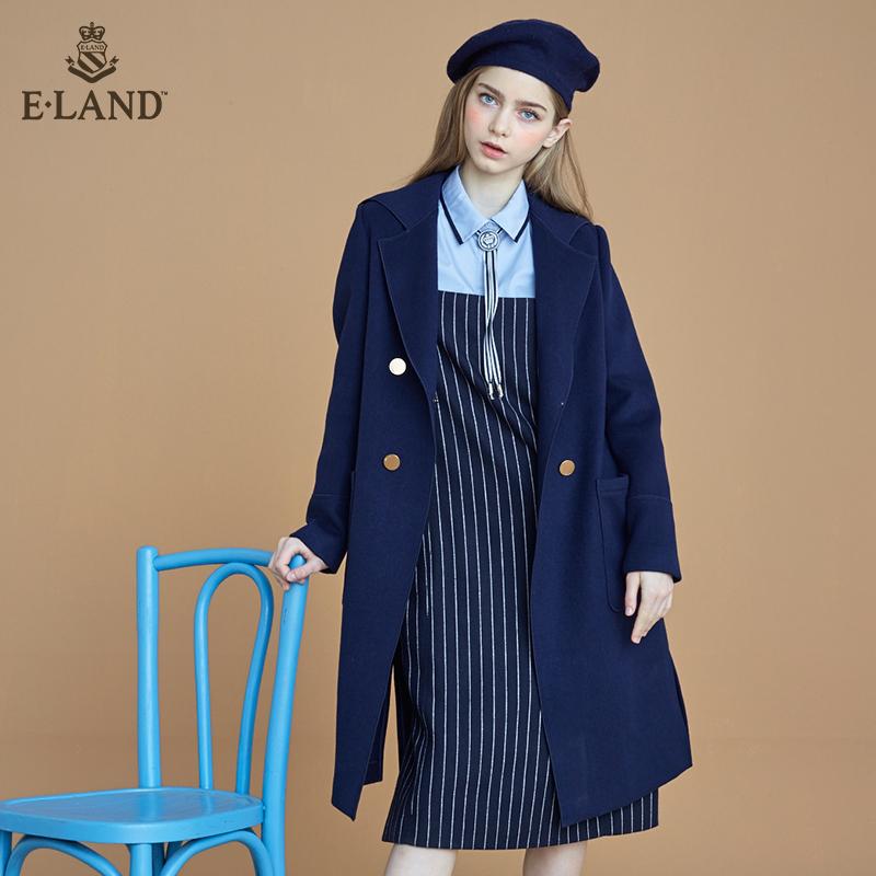 ELAND秋冬新品气质羊毛中长大衣外套EEJW64T55M专柜正品