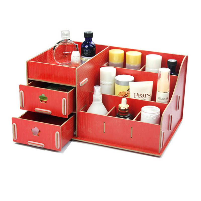 超大号木质化妆品收纳盒抽屉创意桌面收纳盒储物多省包邮