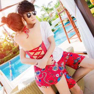 奢奇情侣泳衣 沙滩装套装 女三件套比基尼小胸聚拢温泉度假情侣装