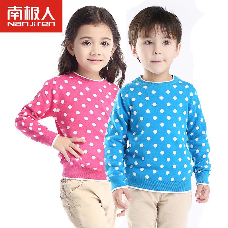 南极人 2014秋冬新款儿童毛衣男女童套头针织衫毛衫圆点毛衣
