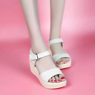 松糕凉鞋女鞋大东新款夏季学生罗马鞋厚底中坡跟鱼嘴鞋净面女凉鞋
