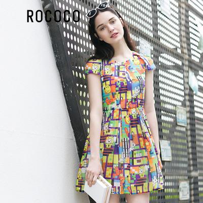 洛可可2016夏装新款个性卡通涂鸦印花连衣裙女短袖a字蓬蓬雪纺裙