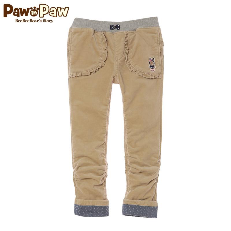 Pawinpaw宝英宝韩国小熊童装女童加绒翻边长裤冬款PCTA34T42M