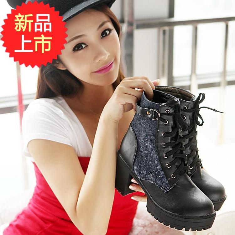 2014秋冬新款英伦真皮马丁靴平底单鞋机车靴中筒靴短靴大码靴包邮