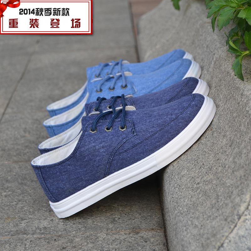 包邮2014新款板鞋男休闲鞋韩版男士牛仔布鞋时尚低帮透气男鞋