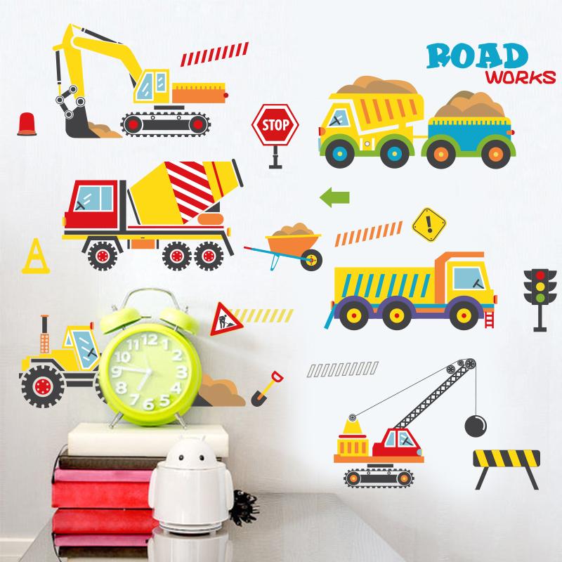 卡通儿童房幼儿园墙贴纸男孩卧室墙壁自粘可爱小汽车工程车墙贴画