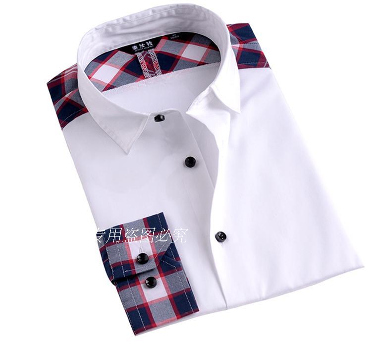 帝仕特2015新款男士衬衫商务休闲纯棉免烫修身韩版长袖衬衣春秋N4