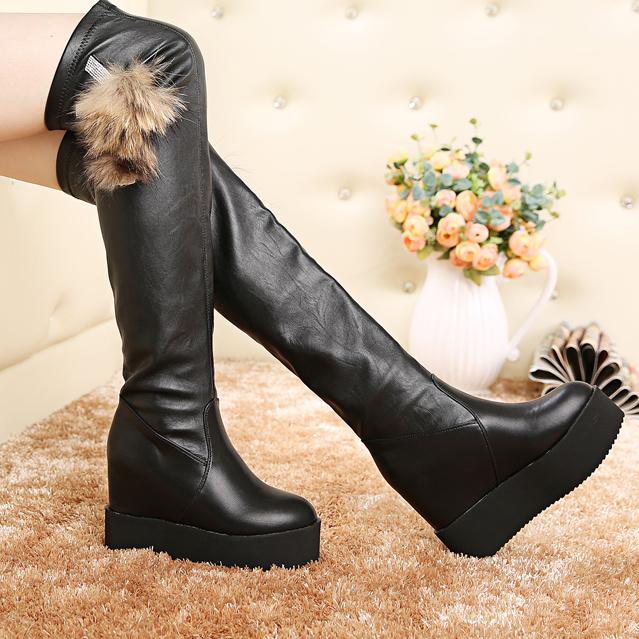 秋冬季高筒韩版过膝长靴坡跟防水台女鞋内增高皮靴女靴子厚底瘦腿
