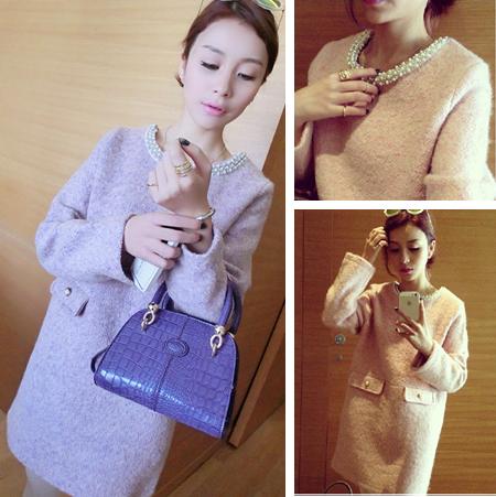 2014秋冬季大码女装新款韩版长袖气质加厚羊毛呢子小香风连衣裙