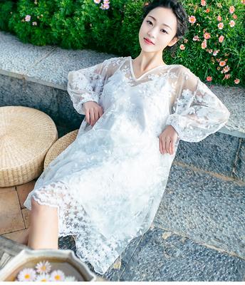 2016春季新款连衣裙两件套蕾丝长袖连衣裙度假沙滩裙透视吊带长裙