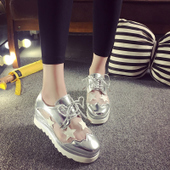 星星鞋厚底松糕鞋女春夏英伦系带方头鞋坡跟网纱透气单鞋夏季女鞋