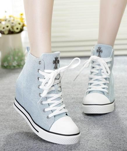 帆布鞋厚底内增高高跟布鞋 韩国进口女鞋子牛仔布高帮鞋系带单鞋
