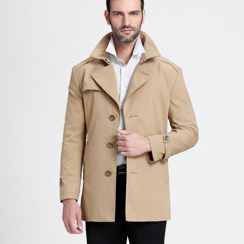 罗格帝尼新款男士风衣中长款修身男装外套 商务休闲秋冬风衣