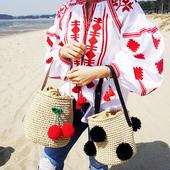 全国包邮新款Cool girl可爱樱桃圆球球单肩包沙滩包度假草编包