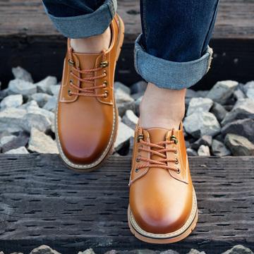 牛阪男士秋季新品休闲鞋透气皮鞋系带圆头青年男鞋2016新款潮鞋子